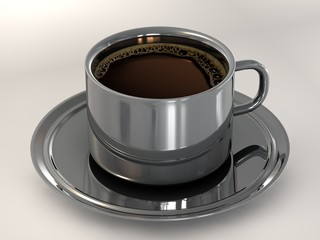 Chrome cup of coffee and sauce