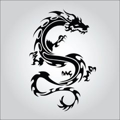 Vector version. Isolated tattoo of black dragon