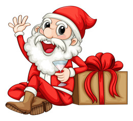 Santa sitting beside a gift