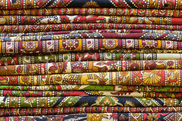 Colorful fabrics in the market, India.