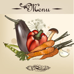 Menu design with hand drawn vegetables in vintage style