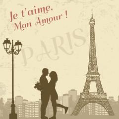 Foto op Canvas Illustratie Parijs Retro Paris poster