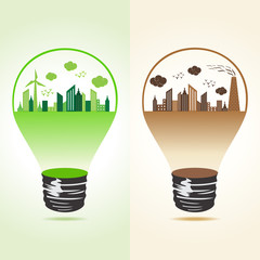 Eco and polluted cityscape in bulb stock vector