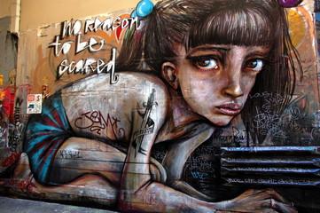 Foto auf AluDibond Graffiti Street art, graffiti wall in Melbourne, Australia