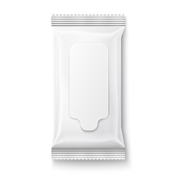 White wet wipes package with flap.