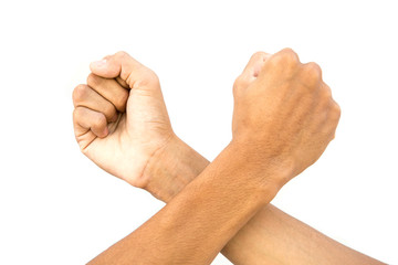 Male hand in fist isolated on white background. Clenched fist ha