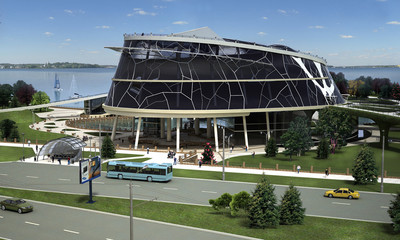 3D visualization of the eco building with bionic form and energy