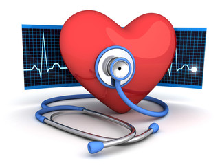 Abstract heart and stethoscope