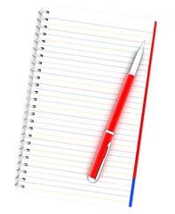Notepad, pen