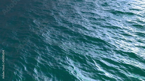 Small waves, Diagonal Fly over blue sea or ocean surface, loopable