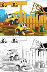Recess Fitting Cars Artistic coloring page out of cartoon style