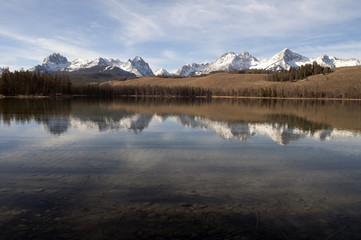 Redfish Lake Water Reflection Sun Valley Idaho Sawtooth Mountain