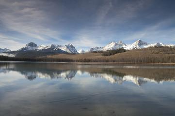 Redfish Lake Water Reflection Sun Valley Idaho Sawtooth Mountain