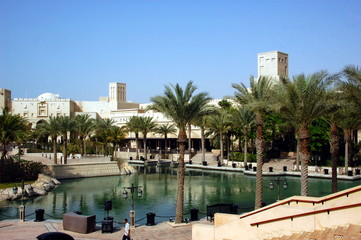 View of the hotel Burj Al Arab from Souk Madinat Jumeirah.