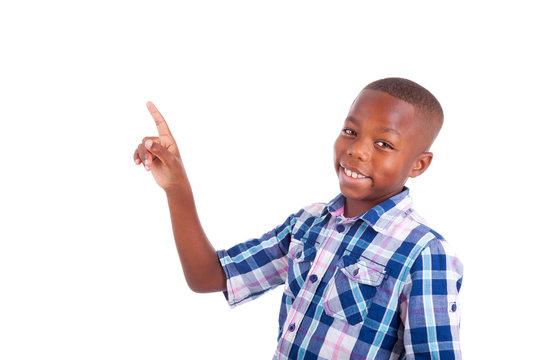 African American school boy looking up - Black people