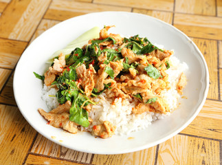 fried rice with basil pork