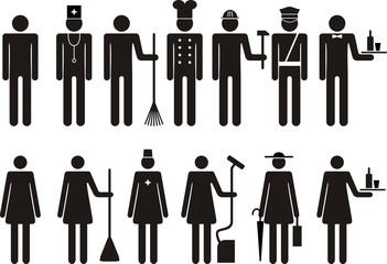 Set of icons of figure people job occupation