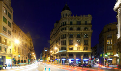 Night view of  Laietana street   in Barcelona