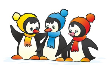 """""""three gay penguin in colored caps"""""""