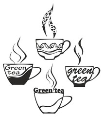 Green tea cup silhouette