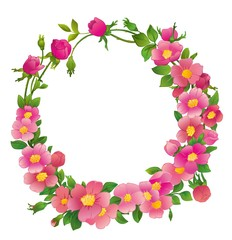 round wreath of pink flowers
