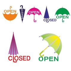 open closed signs in the form of umbrellas