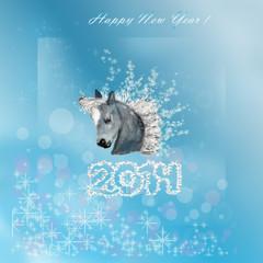 Новогодняя открытка. Год лошади.