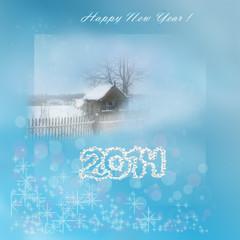 Новогодяя открытка с заснеженным домиком