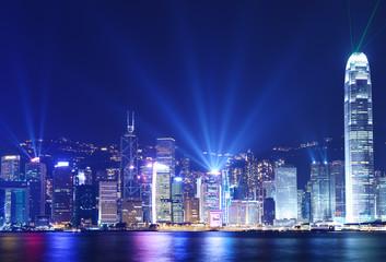 Foto op Plexiglas Hong-Kong Hong Kong skyline at night