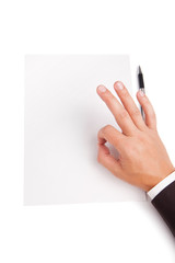 Image of man hand shows OK over white blank paper