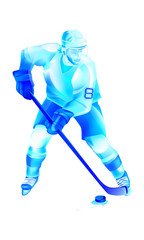 Hockey player attack on blue ice