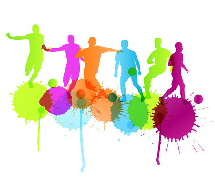 Soccer player vector background concept with ink splashes