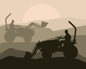 Front loader vector abstract background concept