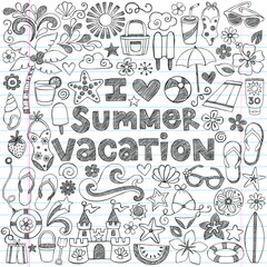 I Love Summer Vacation Tropical Hawaiian Doodles Vector
