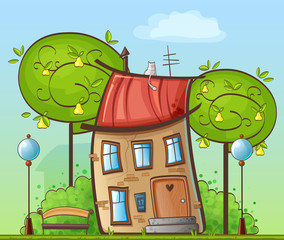 Cartoon house in the courtyard, trees, streetlight, bench