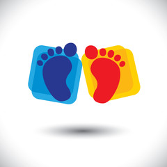 baby's colorful pair of foot sign or symbol for nursery school -