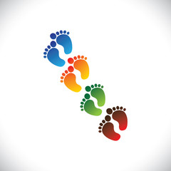 baby's or toddler's colorful foot step pairs for kindergarten -
