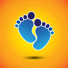 baby's or toddler's foot mark in blue on orange background - vec