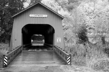 Black and White Chitwood Covered Bridge Lincoln County Oregon US