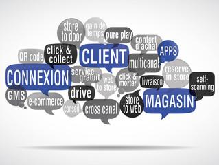 nuage de mots bulles : connexion client magasin