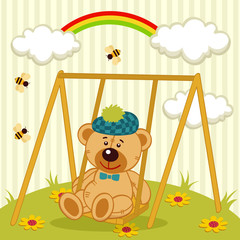 teddy bear on swing - ector illustration
