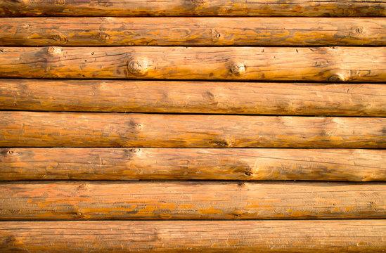 Log hut wooden wall background.