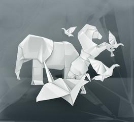 Canvas Prints Geometric animals Origami animals illustration