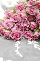 Big Roses Bouquet and Silk background