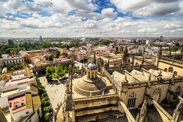 Panoramic view from the La Giralda tower of Seville Cathedral.