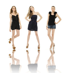 three young woman posing in little black dress