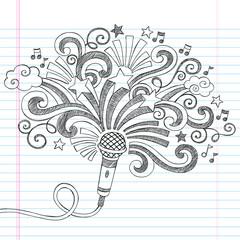 Microphone Music Singer Sketchy Doodles Vector Illustration