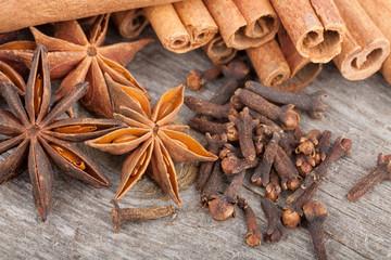 Anise, cinnamon and clove spices