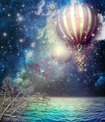 Photo sur Plexiglas Imagination Hot fire balloon in the starry sky
