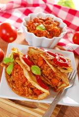 pancakes with minced meat and vegetables